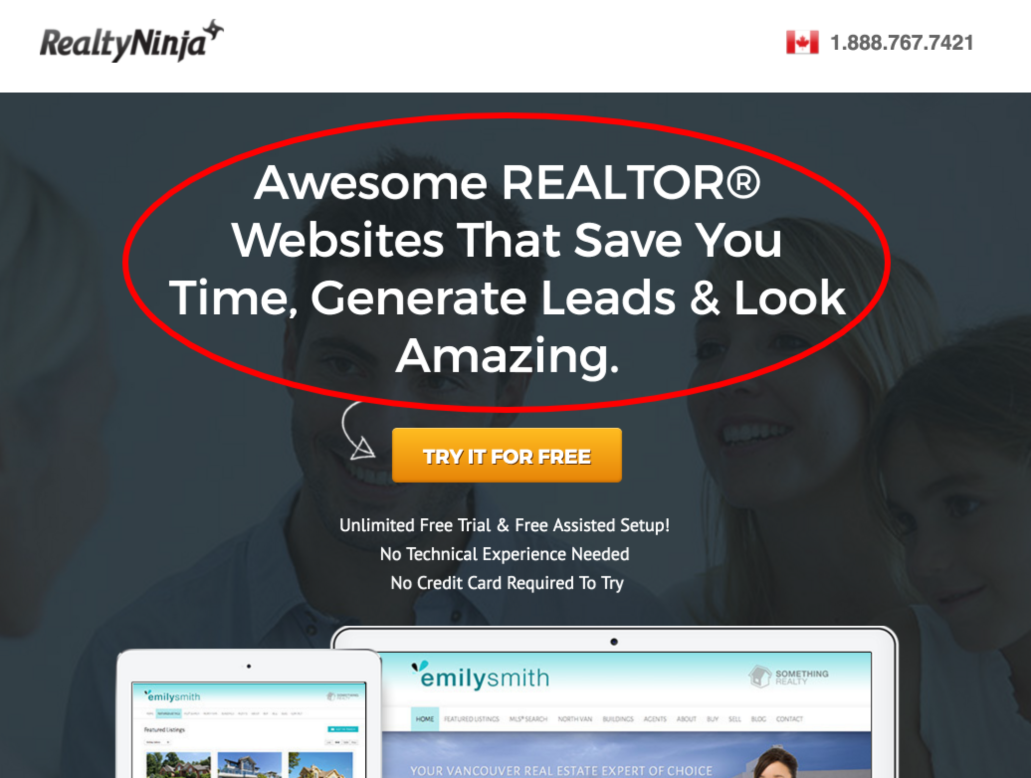 real estate landing page - headlines