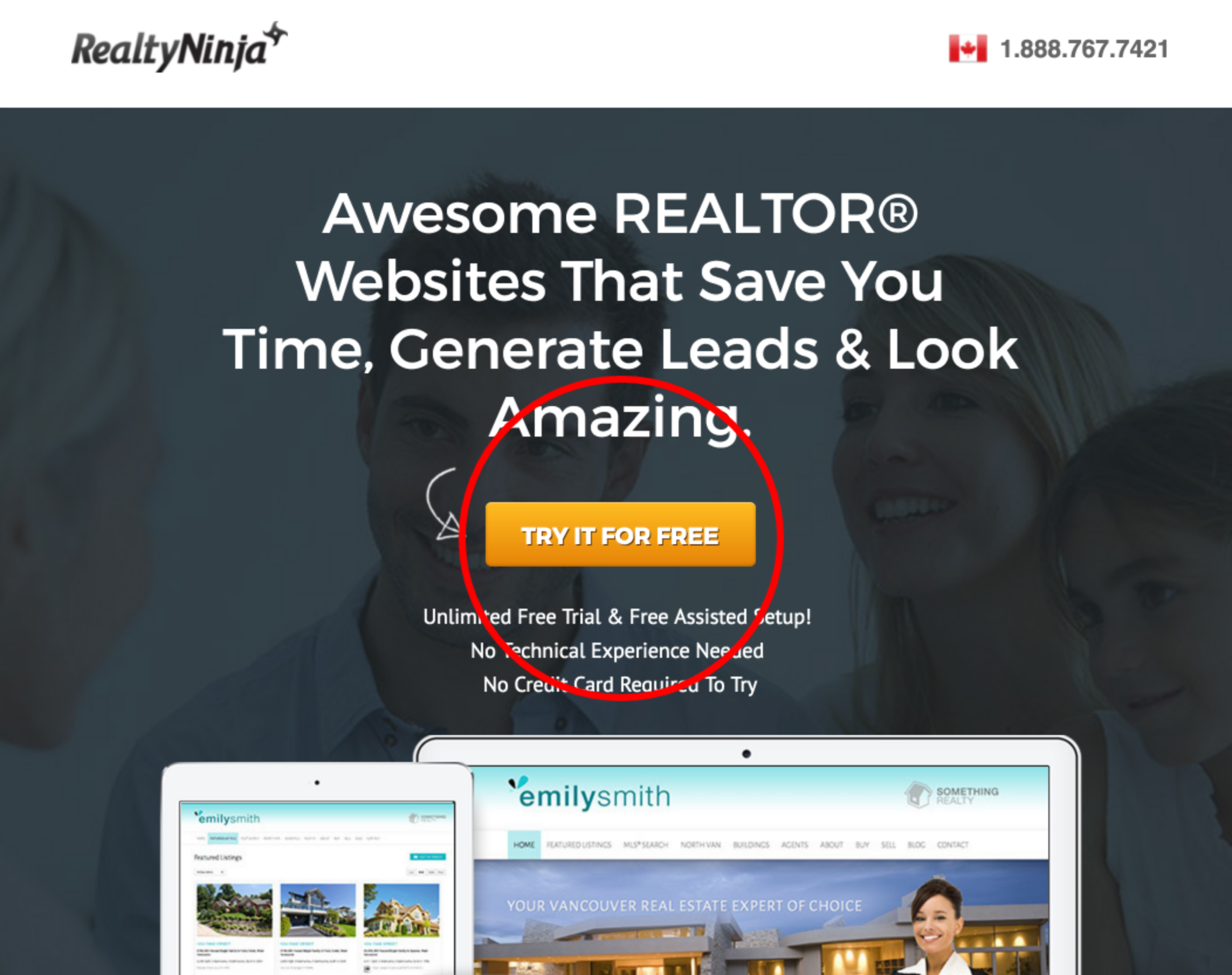 Real estate landing page - call to action