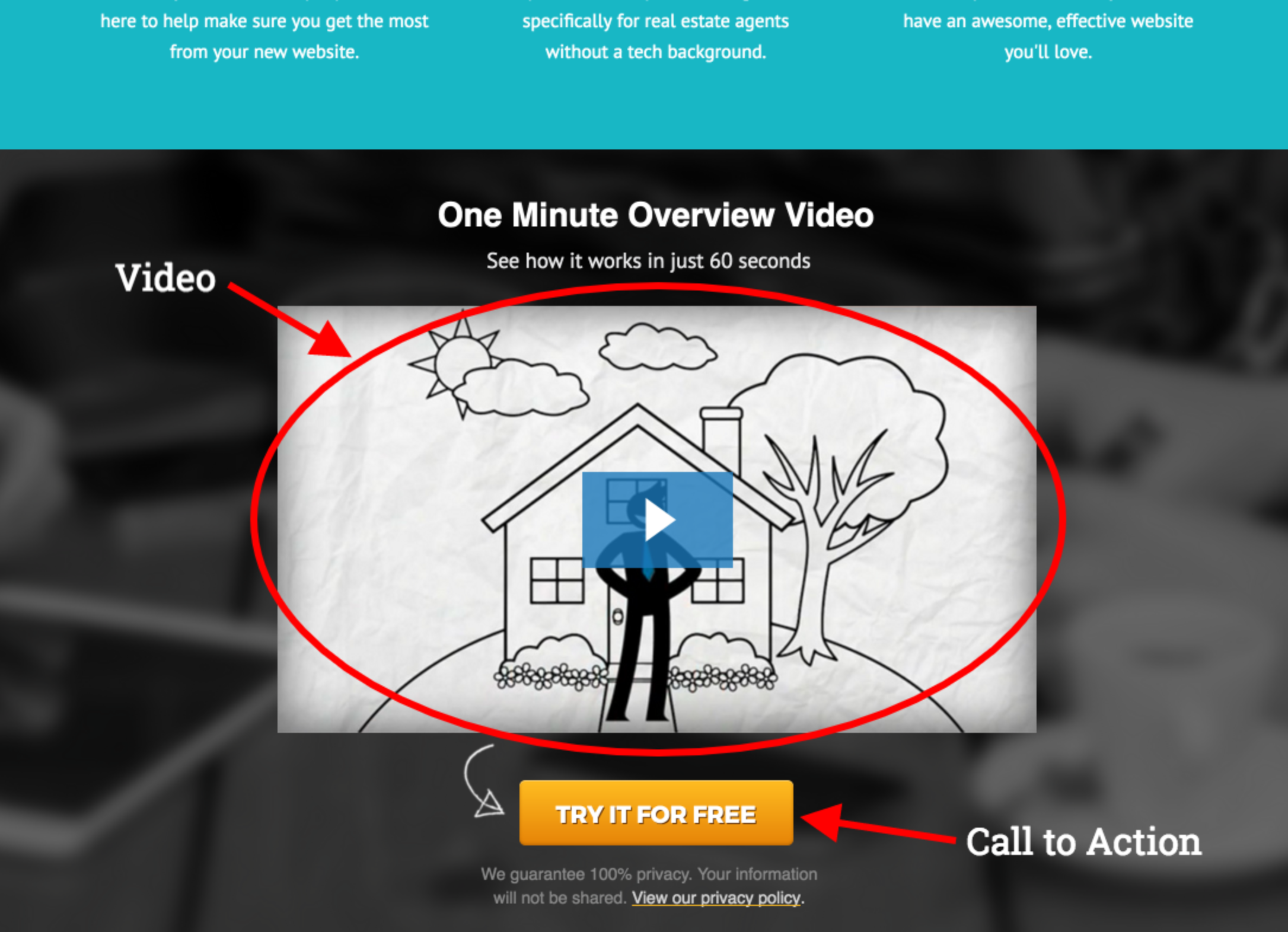 real estate landing page - video