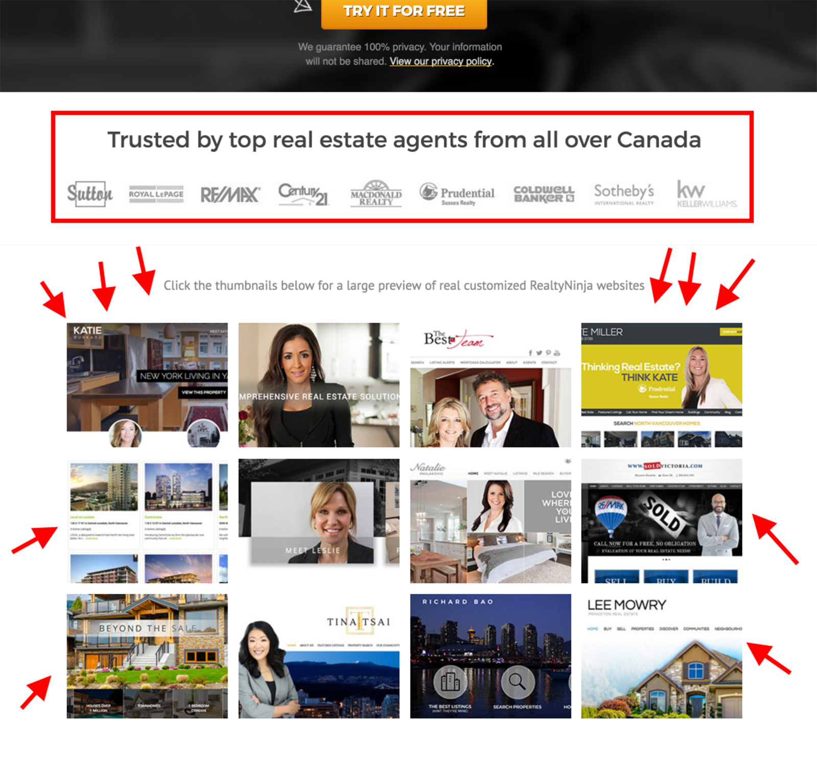 real estate landing page - trust indicators