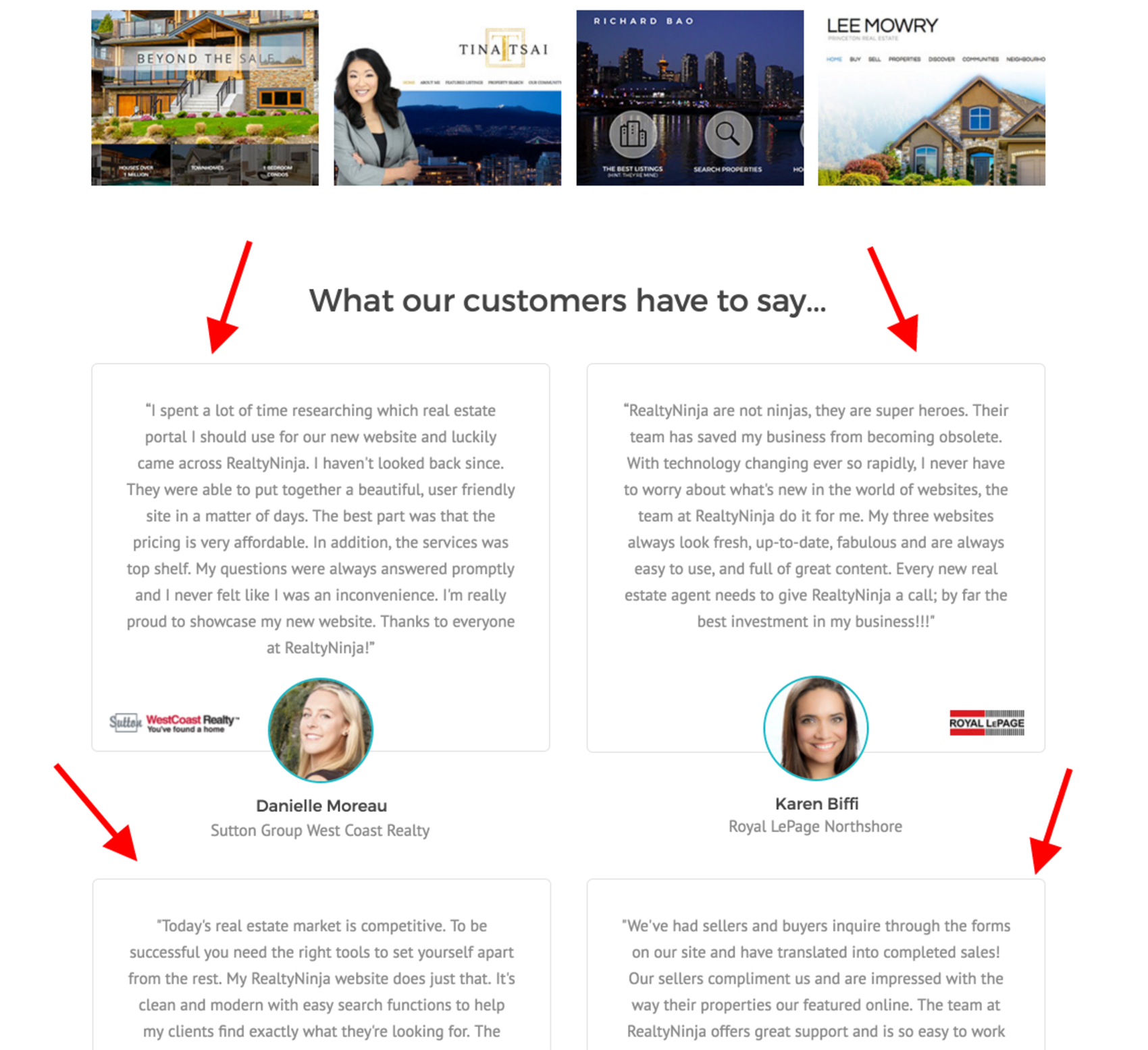 real estate landing page - testimonials
