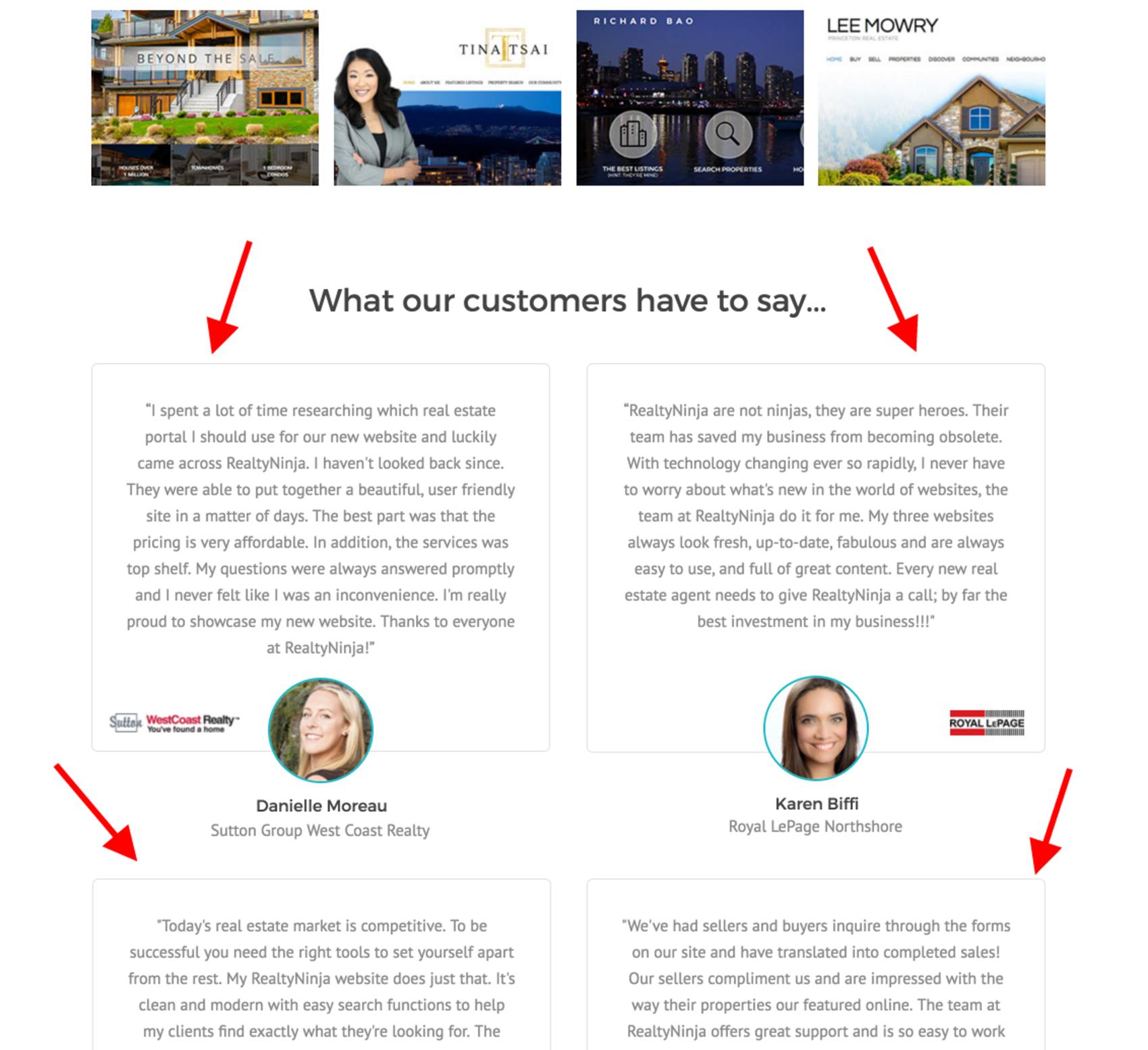 real estate landing page - testimonials
