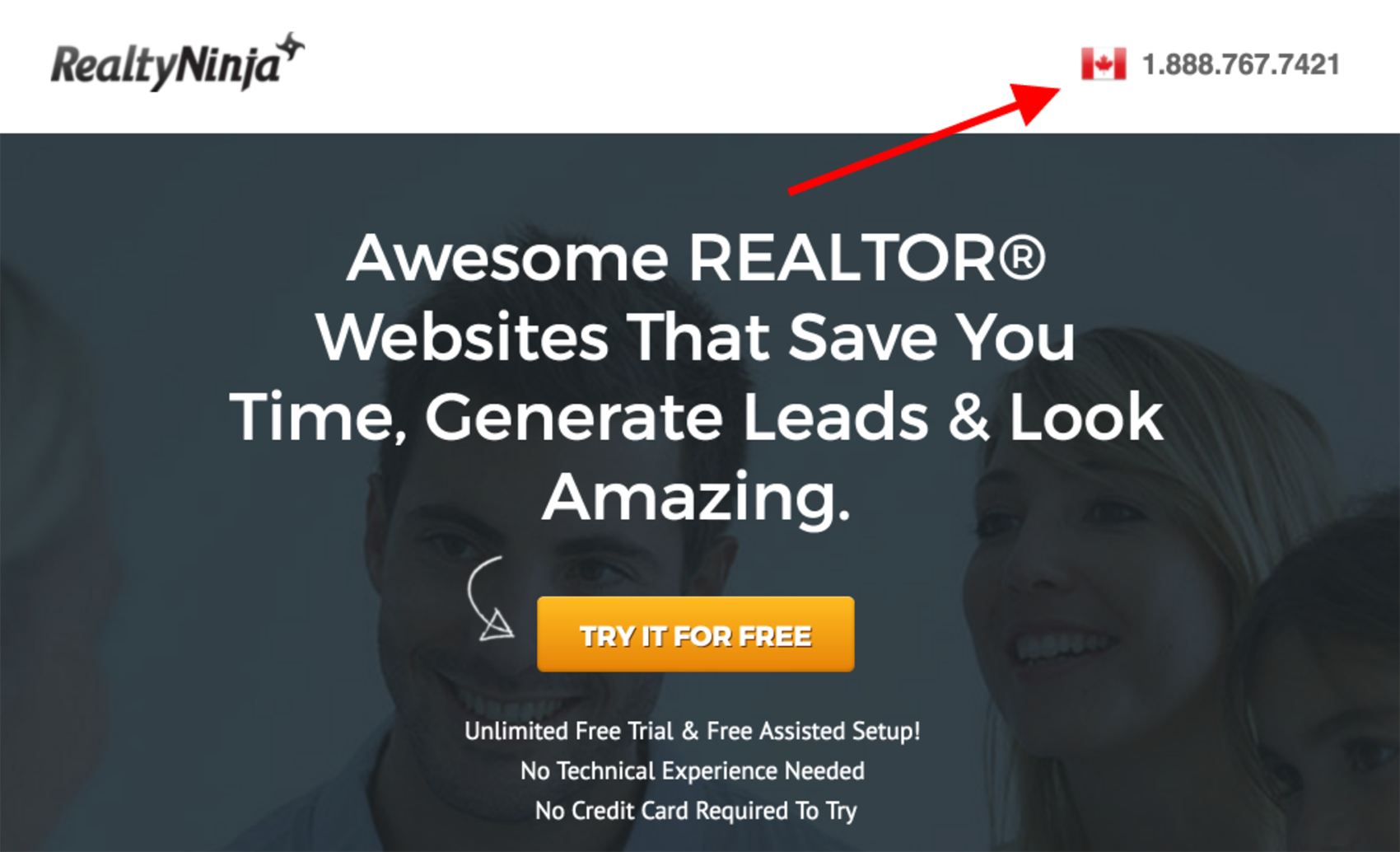 real estate landing page - contact info
