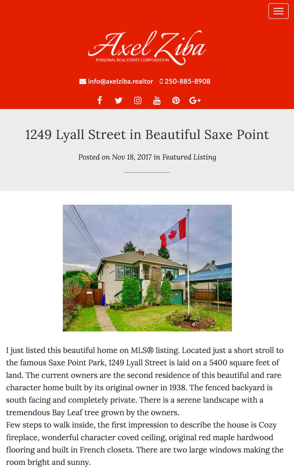 Axel Ziba's real estate blog features his new listings