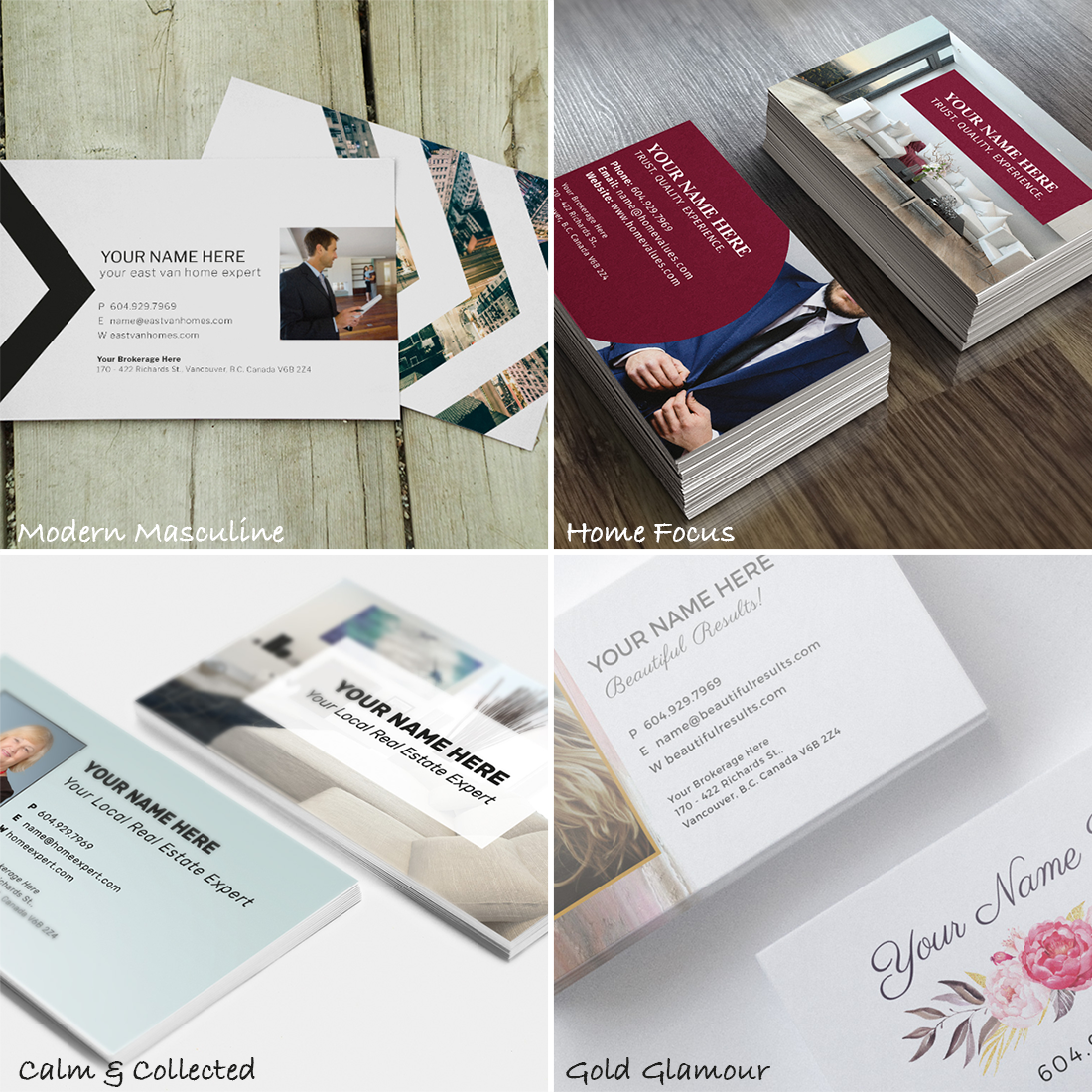 Customize 1 of these 4 REALTOR® business card designs for your business