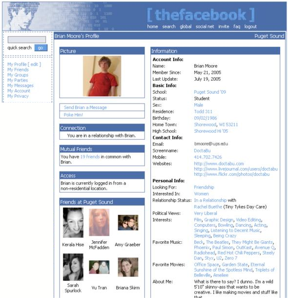This is what a Facebook Profile looked like in 2004.
