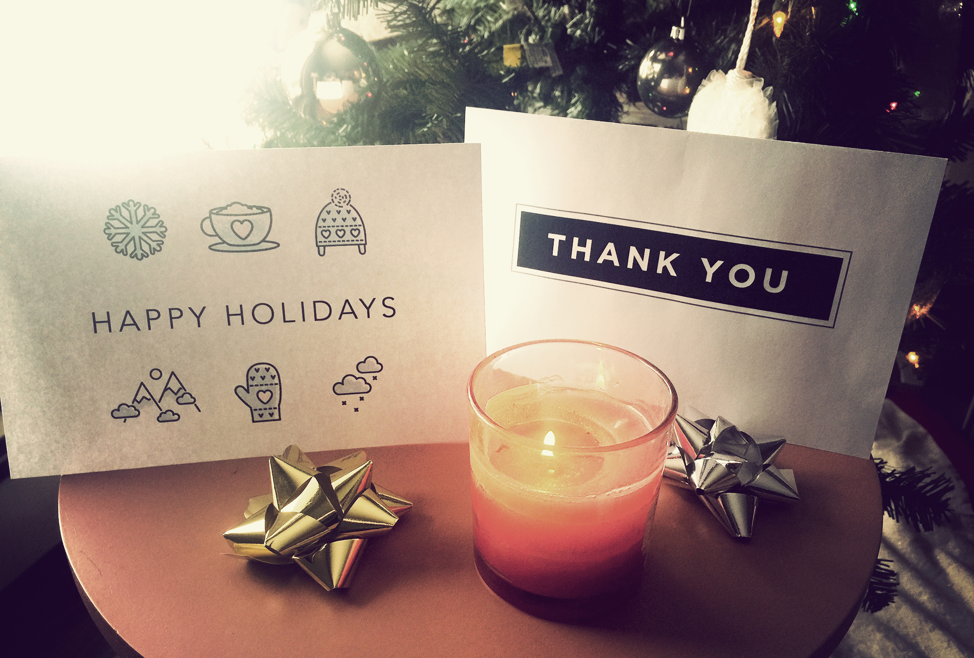 Photo of the Holiday Card and one variation of the Thank You Card for Realtors