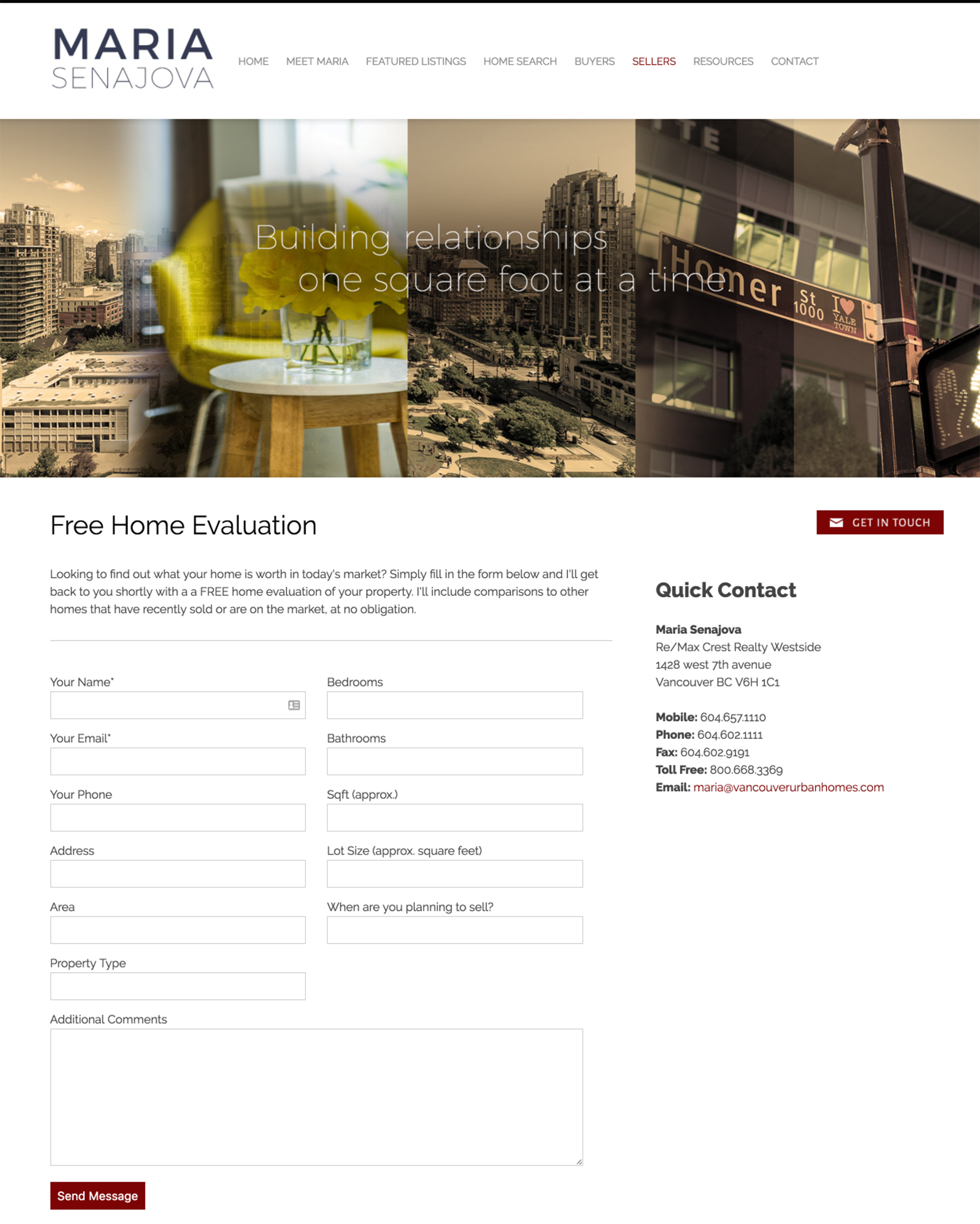 Example of a Home Evaluation Form on a RealtyNinja Real Estate Website