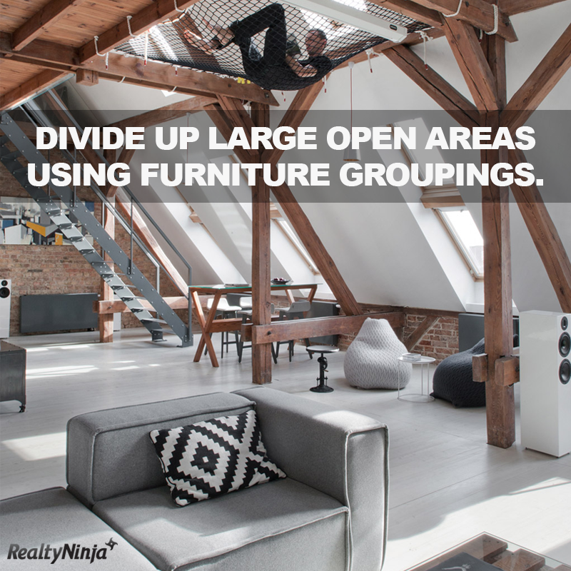 Divide Up Large Open Areas Using Furniture Groupings