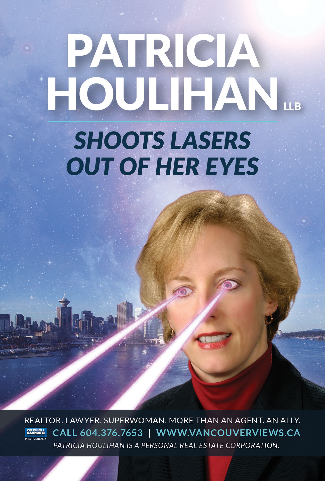 Patricia Houlihan Realtor Laser Eyes Bus Ad