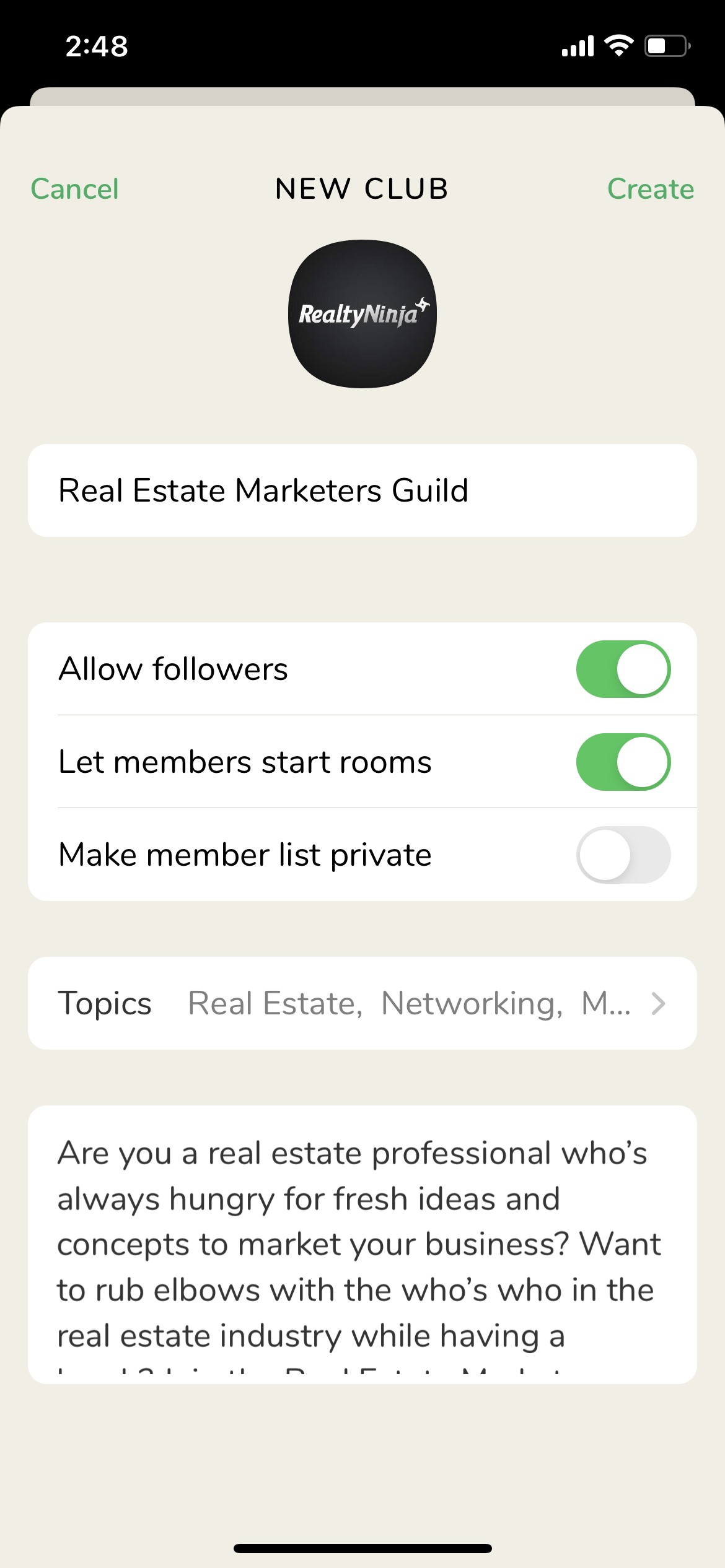 Real Estate Club on Clubhouse