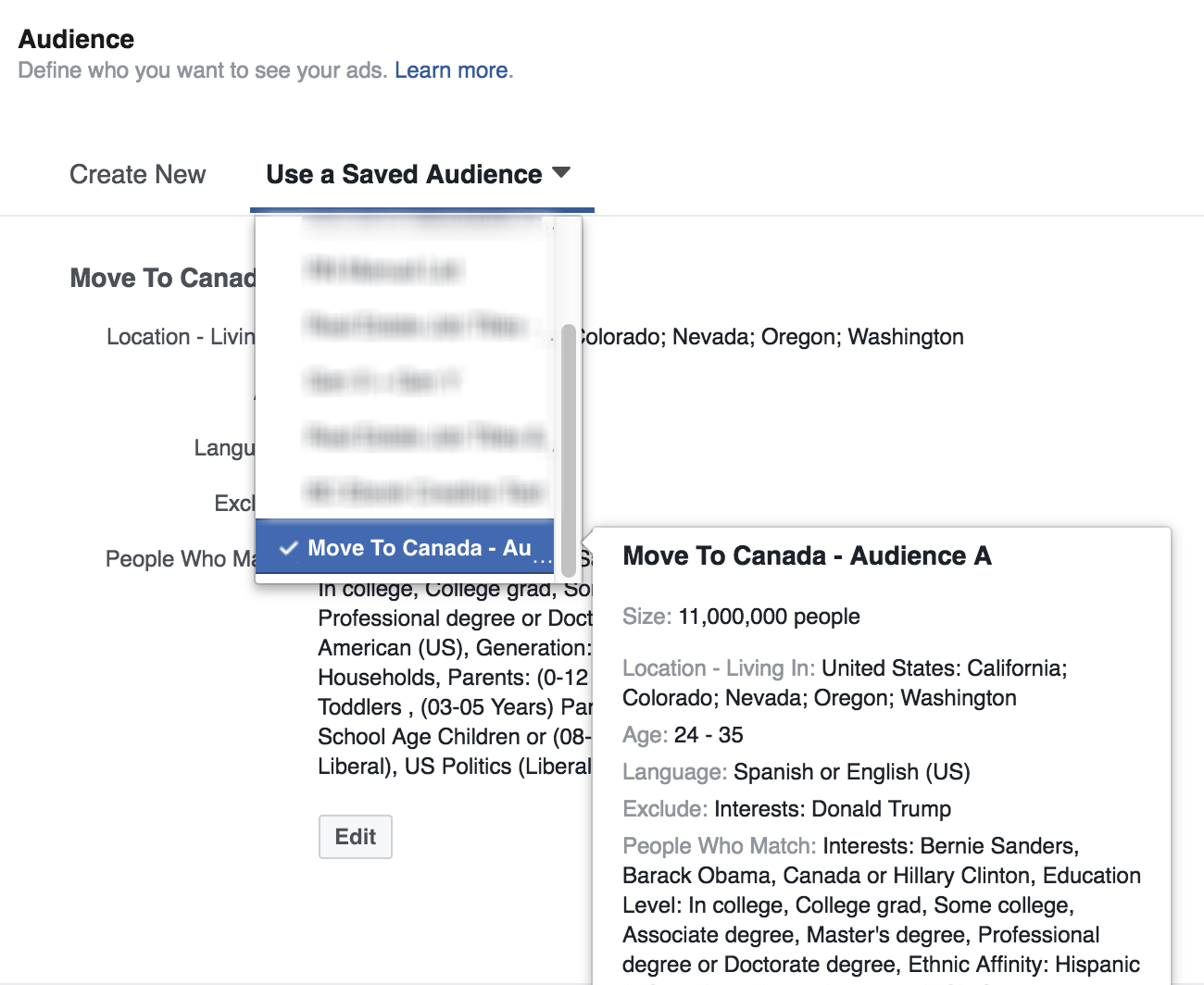 Saved Audiences in Facebook Ad Manager