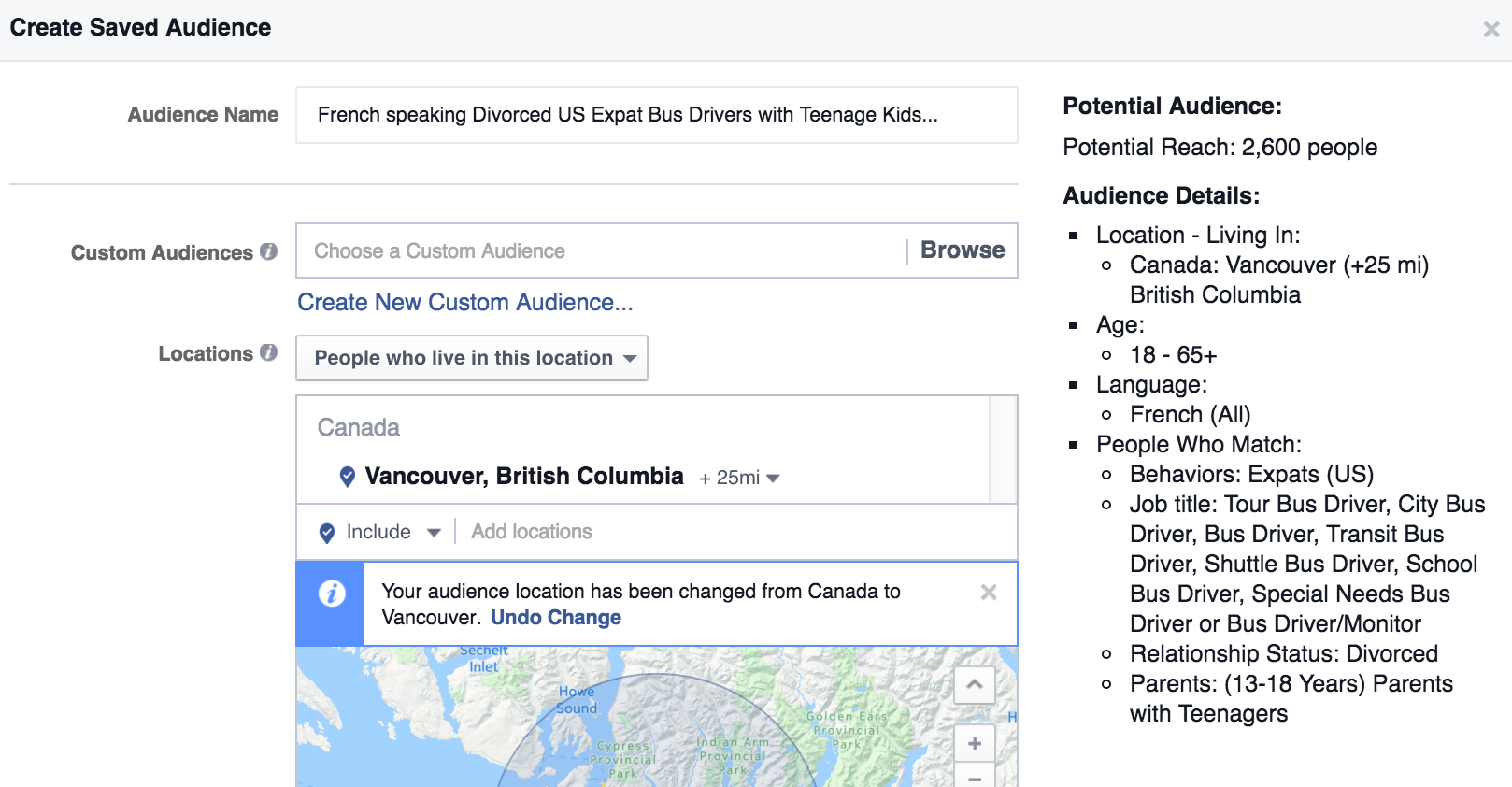 Facebook Ads Saved Audience