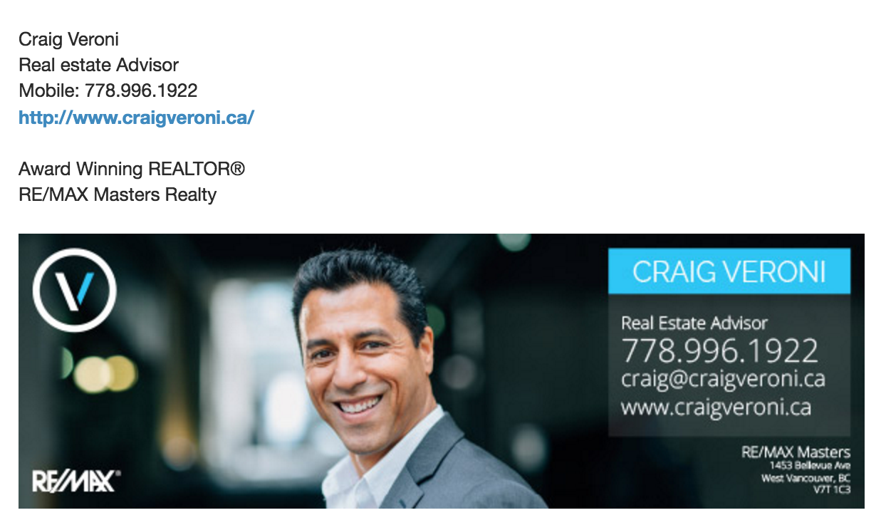 Craig Veroni Real Estate Email Signature