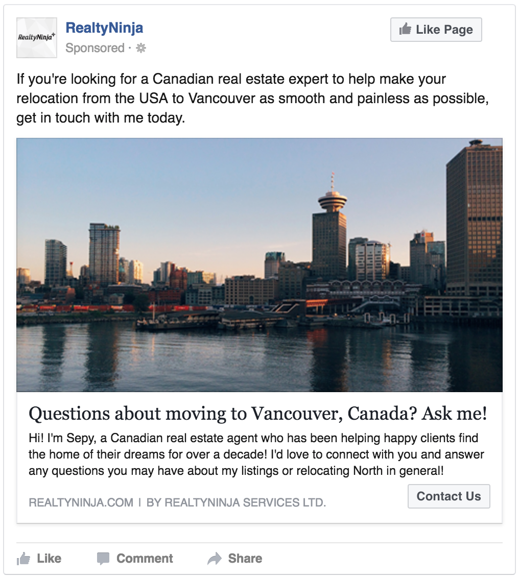 Example REALTOR® Facebook Ad Targeting Americans Moving to Canada