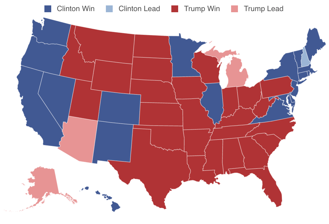 Electoral Map - US Presidential General Election 2016