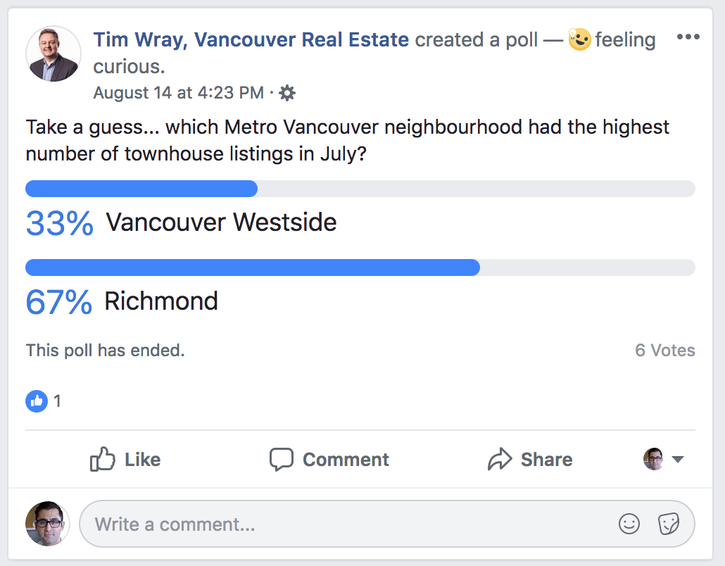 Tim Wray Vancouver REALTOR® Asking for Poll Responses