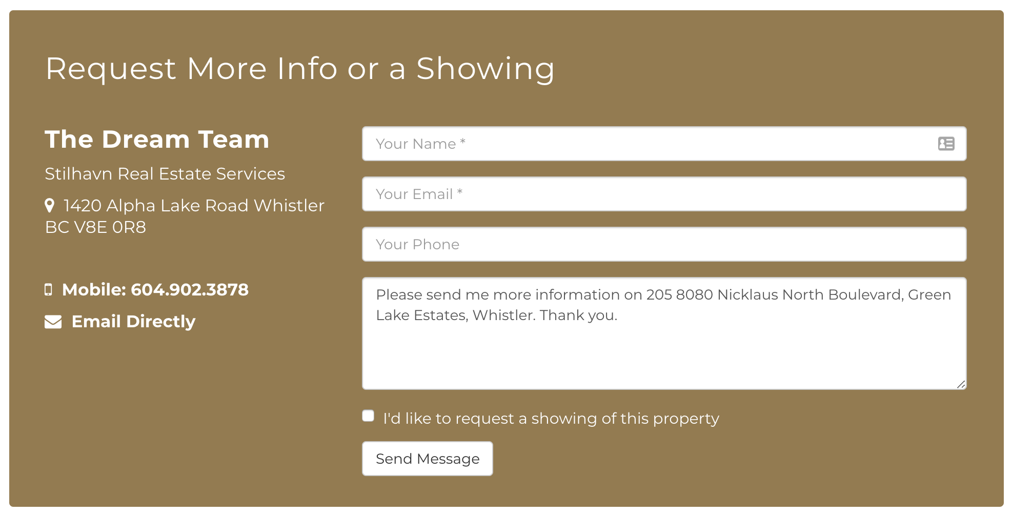 Call to Action forms on RealtyNinja Websites
