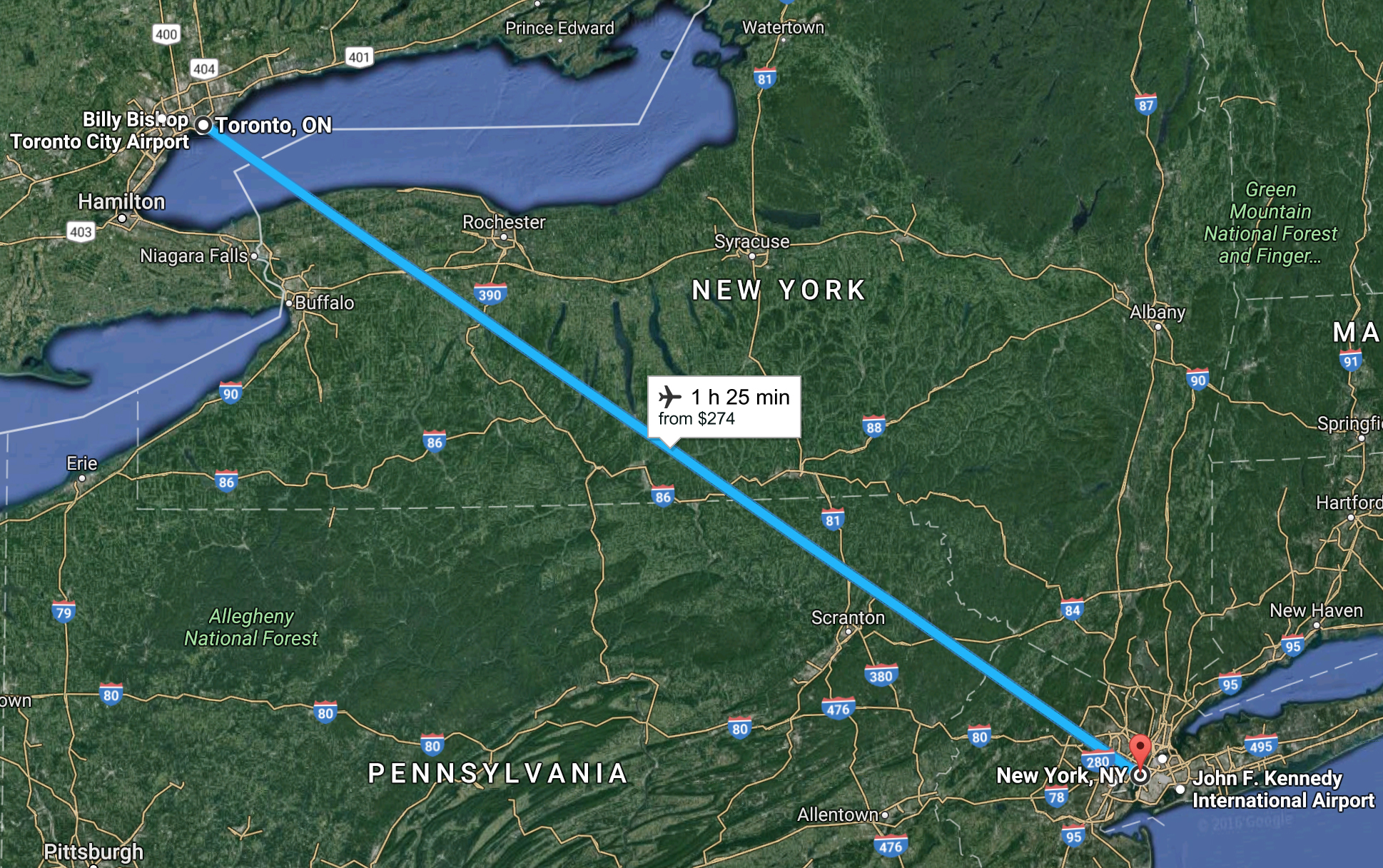 Map of New York to Toronto by Airplane