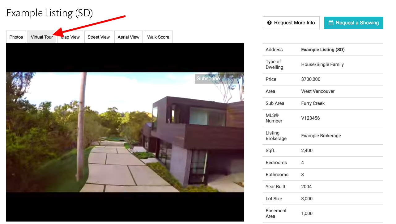 Virtual Tours on Real Estate Website