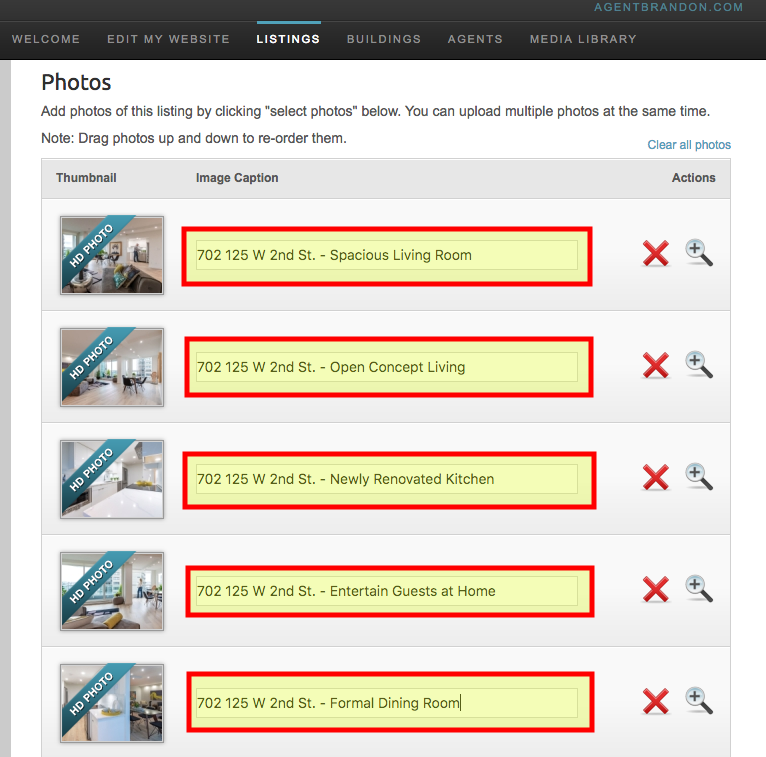 Add ALT Tags to your listings on RealtyNinja