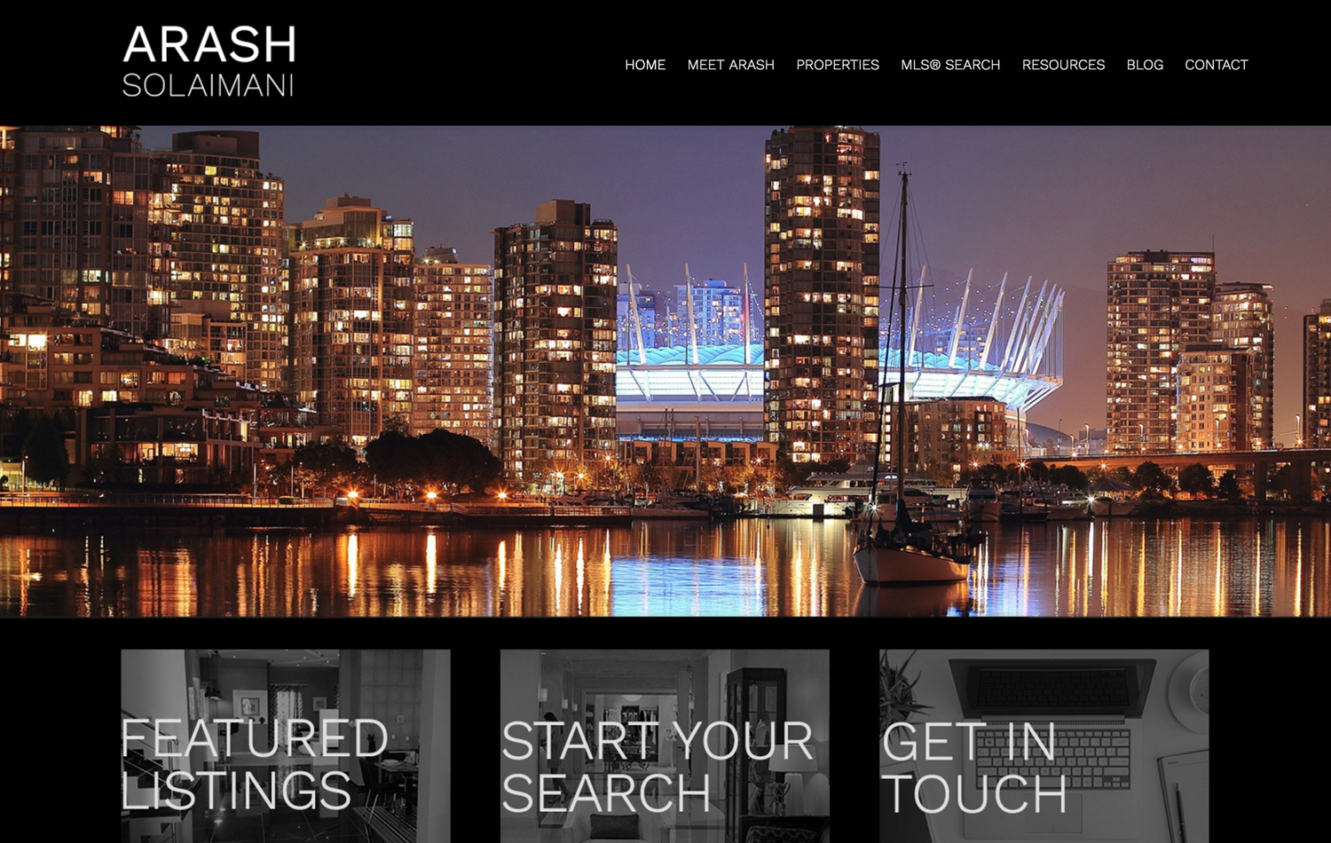 arash solaimani real estate website screenshot