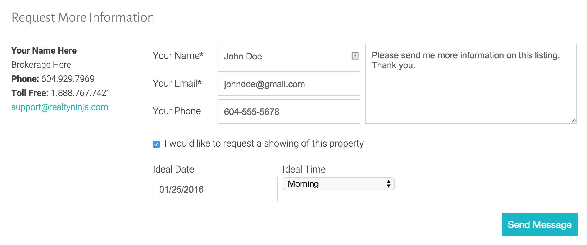 Lead Capture Form at the Bottom of all Listings