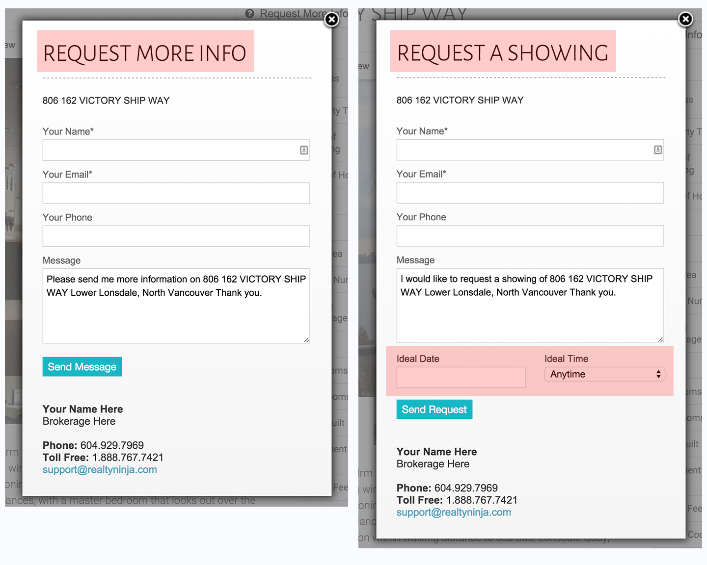 Side by Side Comparison: Request Showing vs. Request Info windows