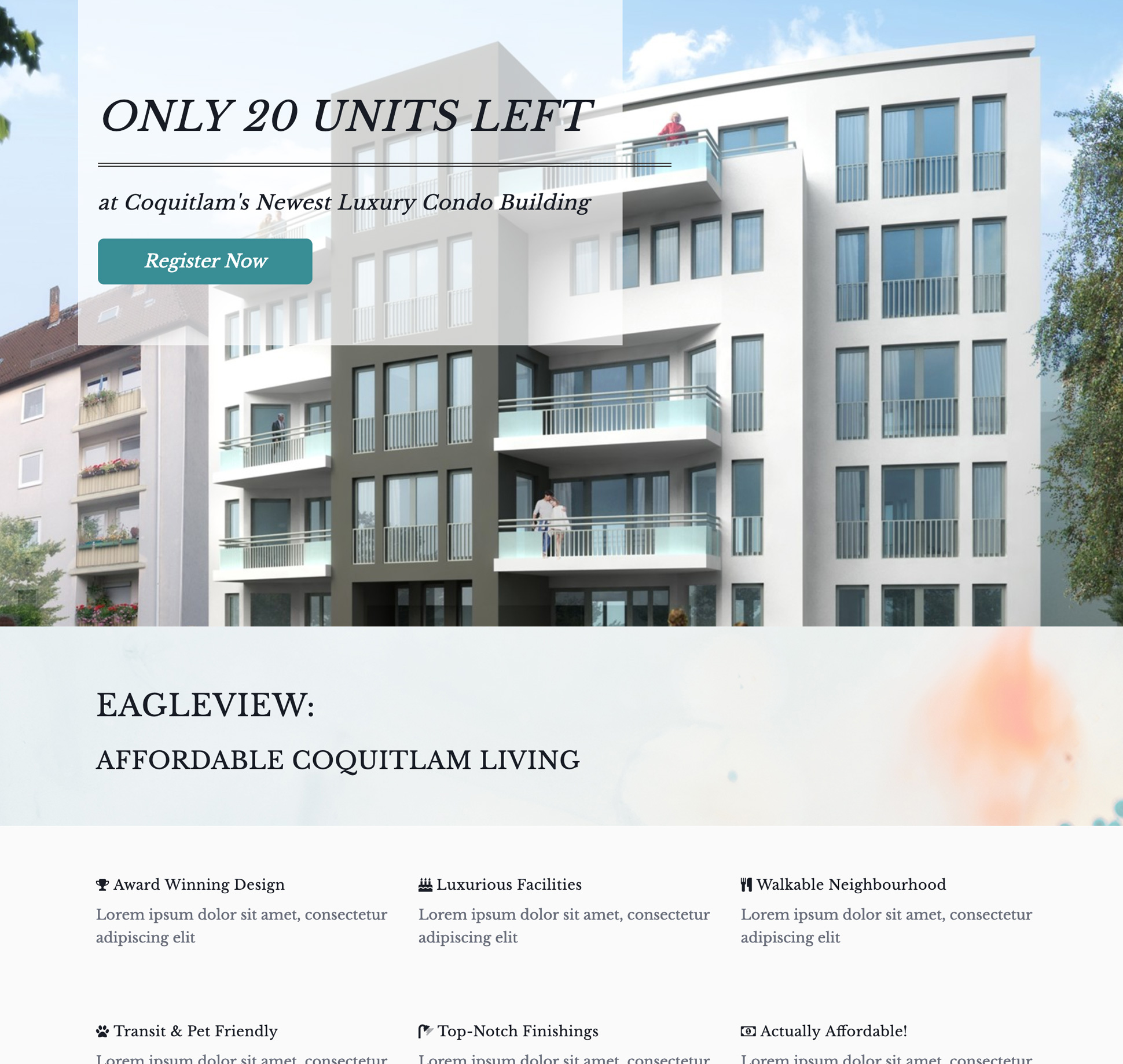 Example of a real estate landing page for a development in Coquitlam, BC