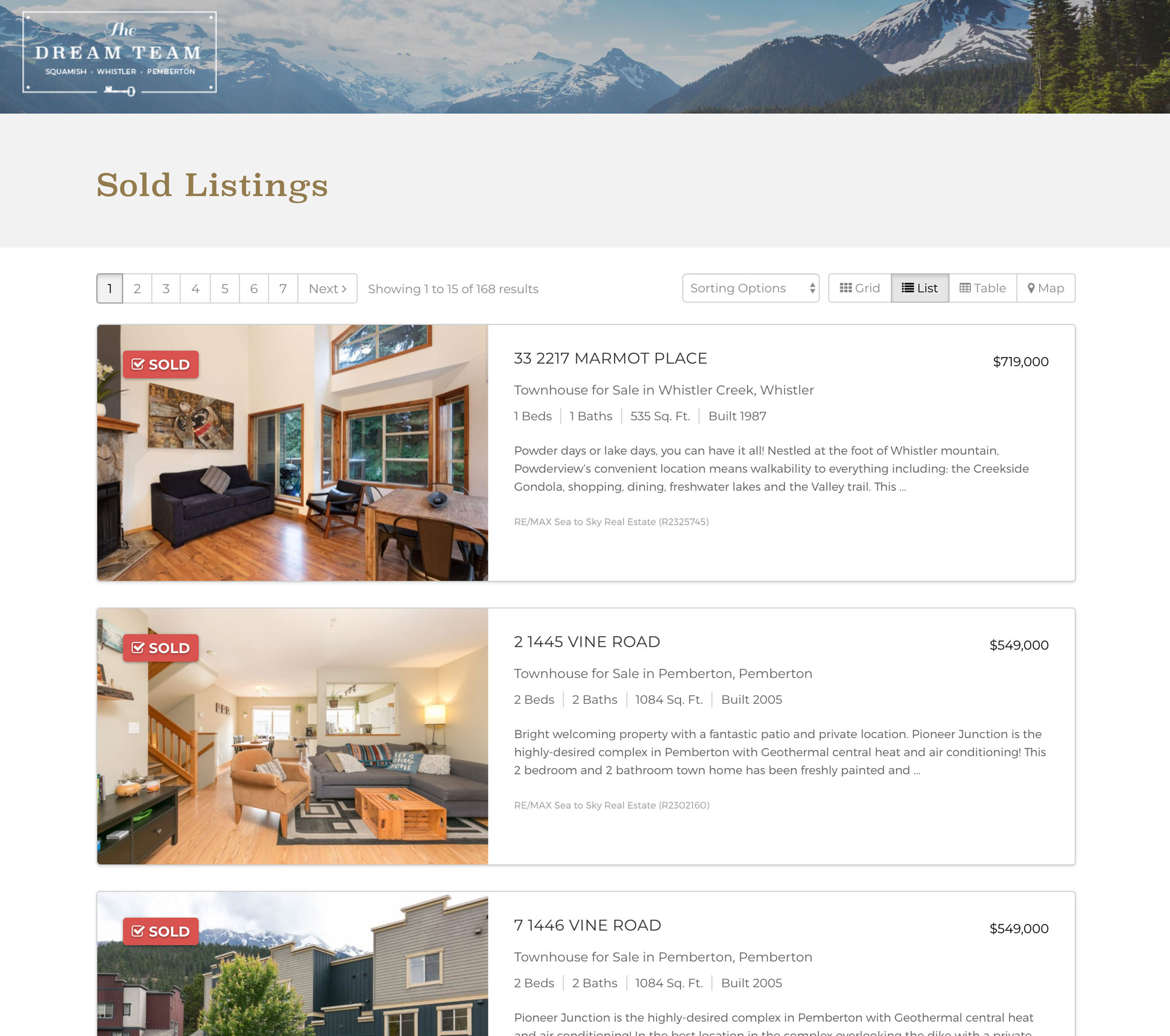 Sea to Sky Dream Team - Sold Listings in Landing Page Mode