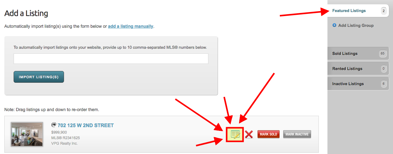 Edit a Listing Button on a RealtyNinja website