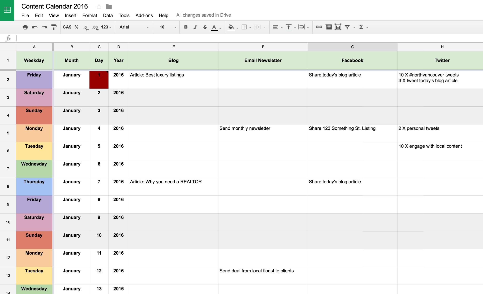 Real Estate Marketing Content Calendar