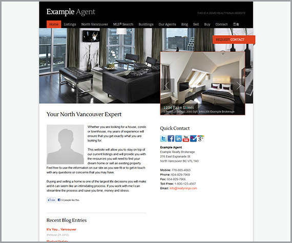 Real estate agent website theme for RealtyNinja