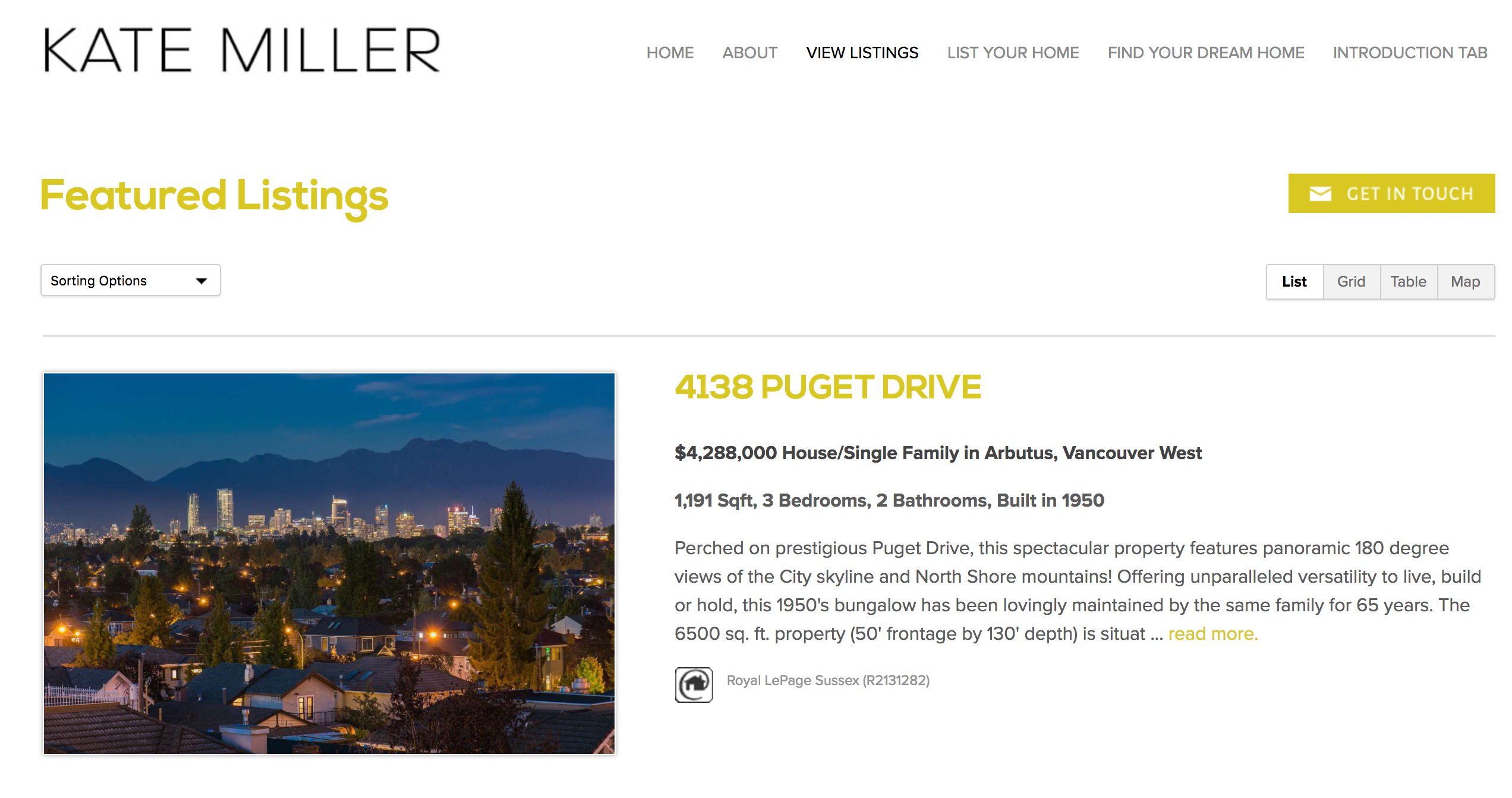 Kate Miller's Featured Listings page is updated