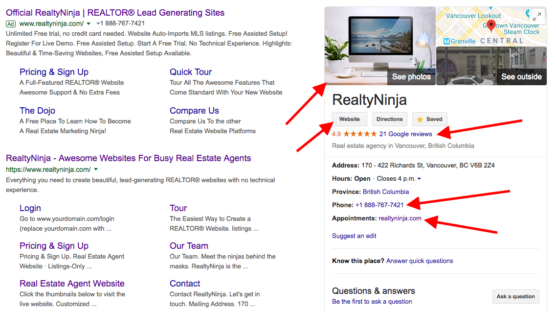 RealtyNinja's Google My Business Profile