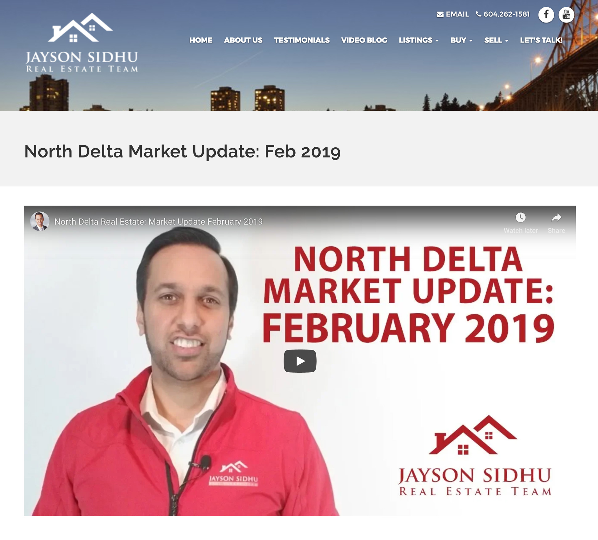 Video Market Updates by Jayson Sidhu on his website