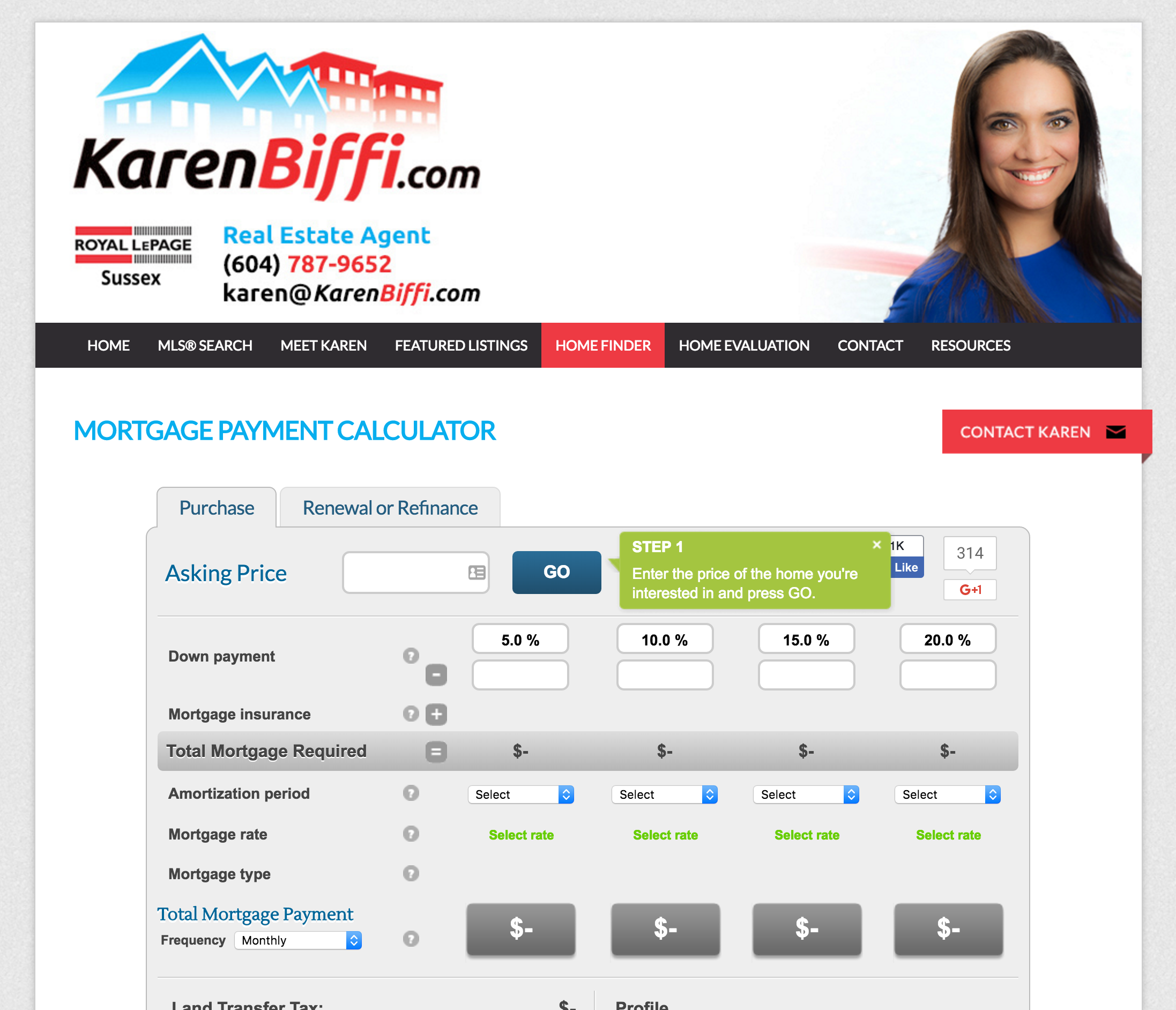 Example of a RateHub Mortgage Calculator on Karen Biffi's Real Estate Website