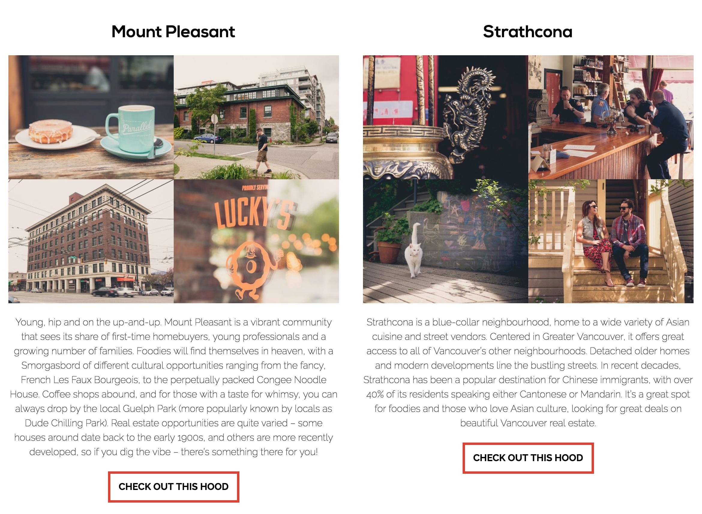 Katie Burkard Vancouver Real Estate Agent Website - Neighbourhoods