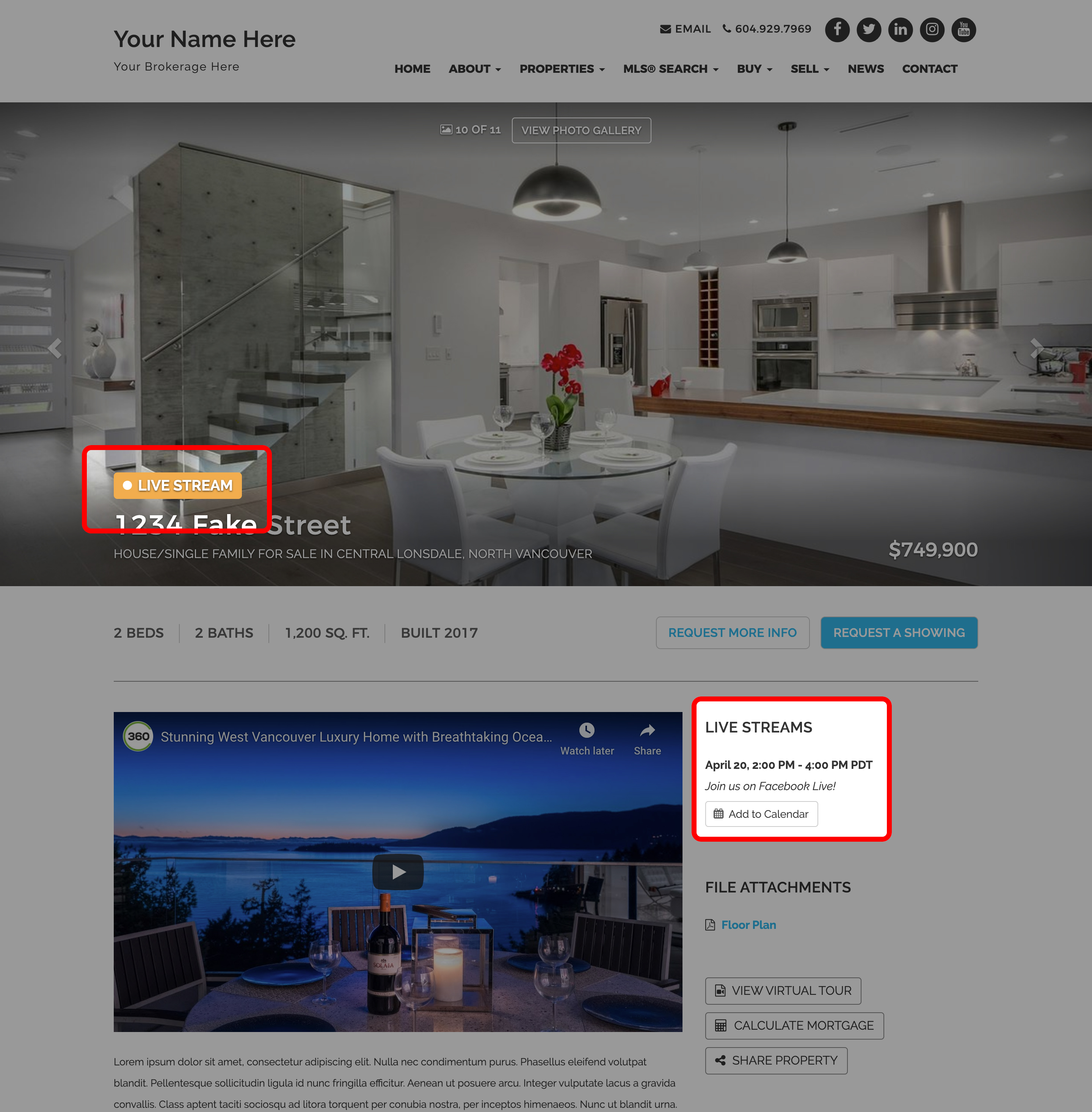 Live Stream Open House Functionality on your RealtyNinja Website