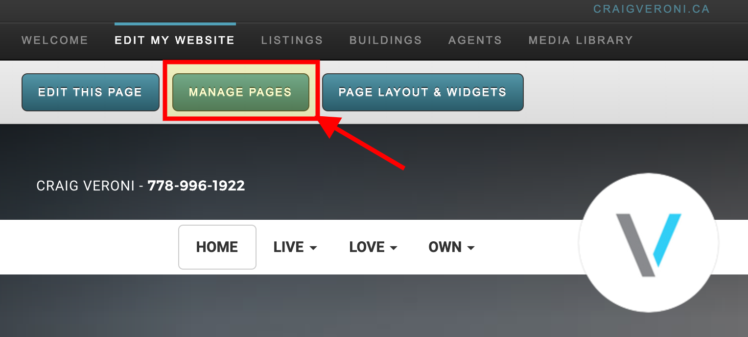 Manage Pages on RealtyNinja