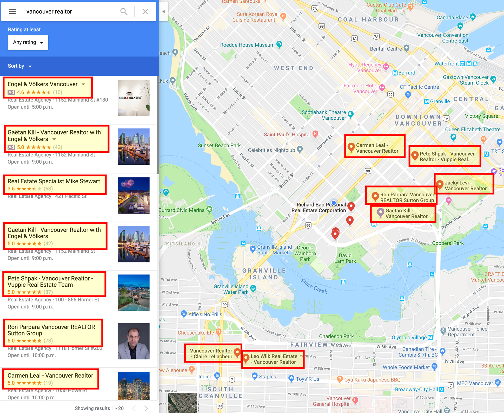 Vancouver Realtor Maps on Google