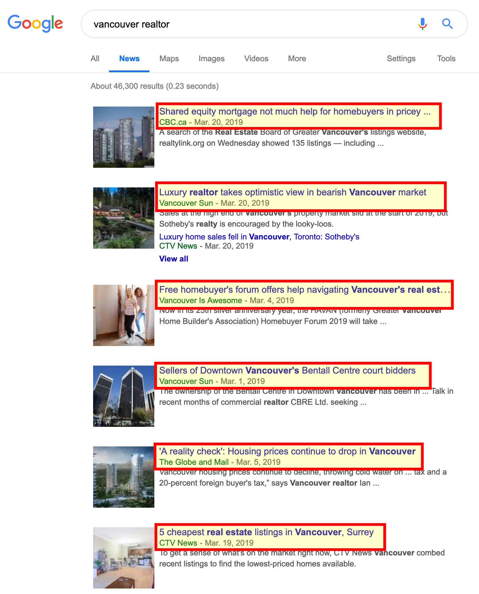Vancouver Realtor News on Google