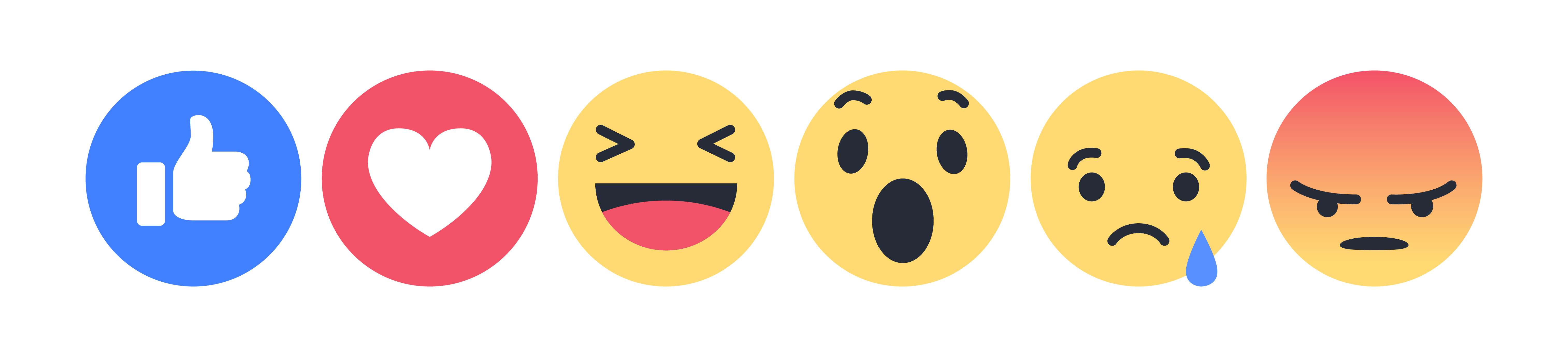 Facebook Reactions (Love, Haha, Wow, Sad, Angry)