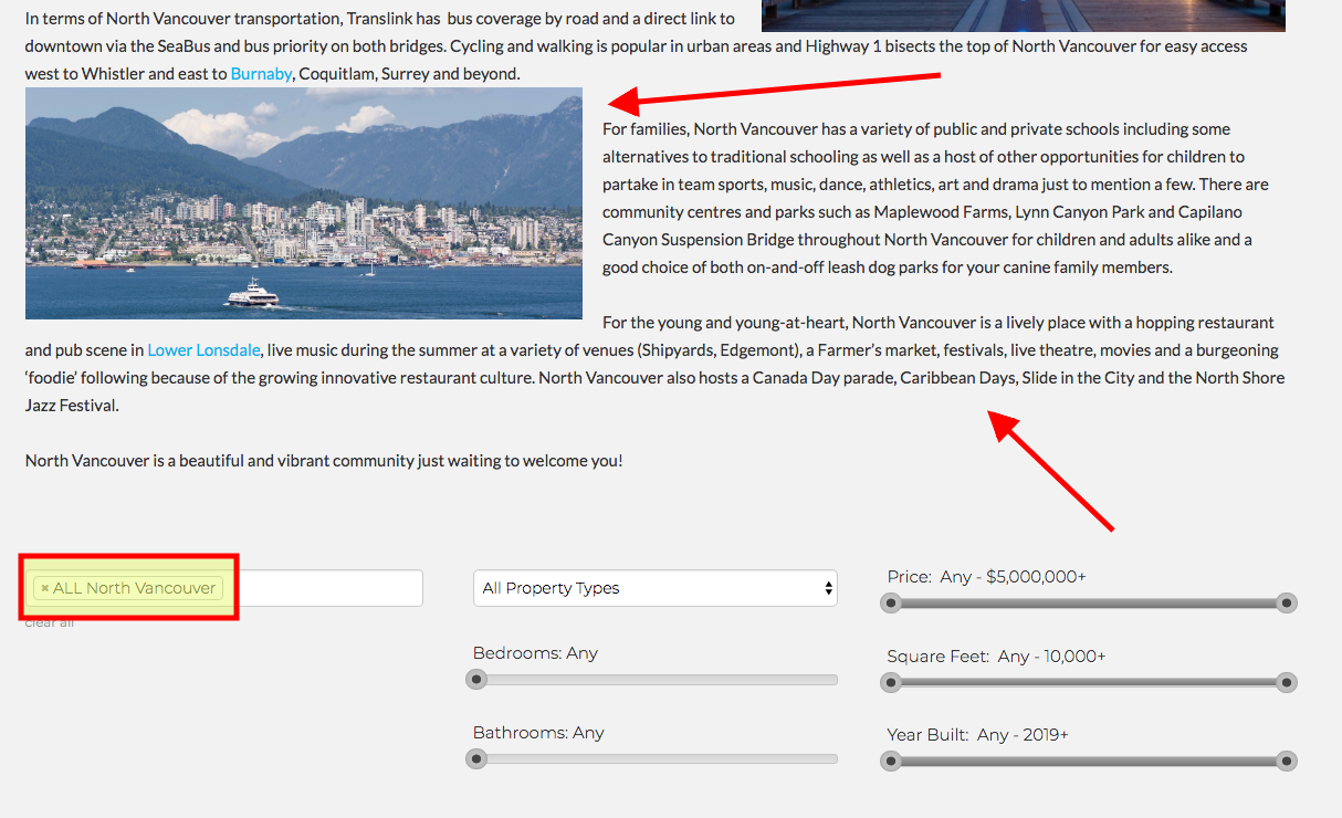 North Vancouver Niche Search Page by Anthony Riglietti