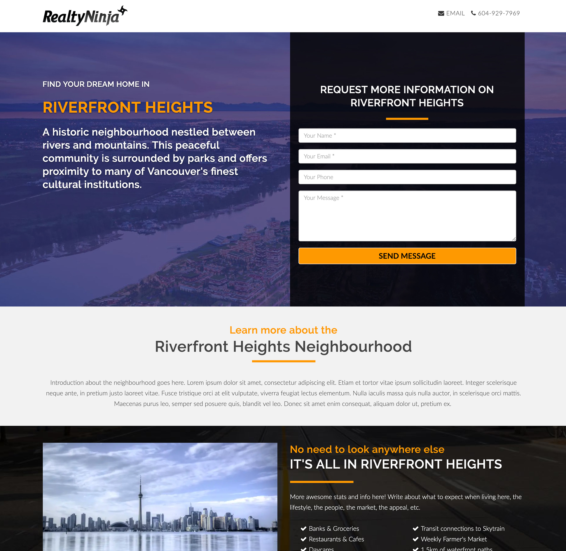 RealtyNinja Real Estate Agent Landing Pages for Sale