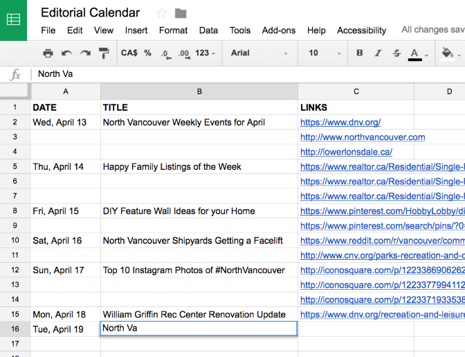 Editorial Calendar Screenshot
