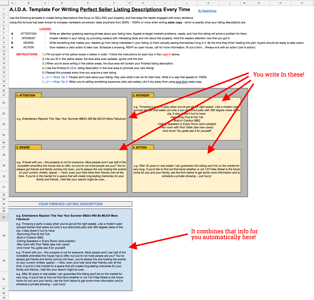 Download This AIDA Template for Writing Compelling Listing Descriptions Below