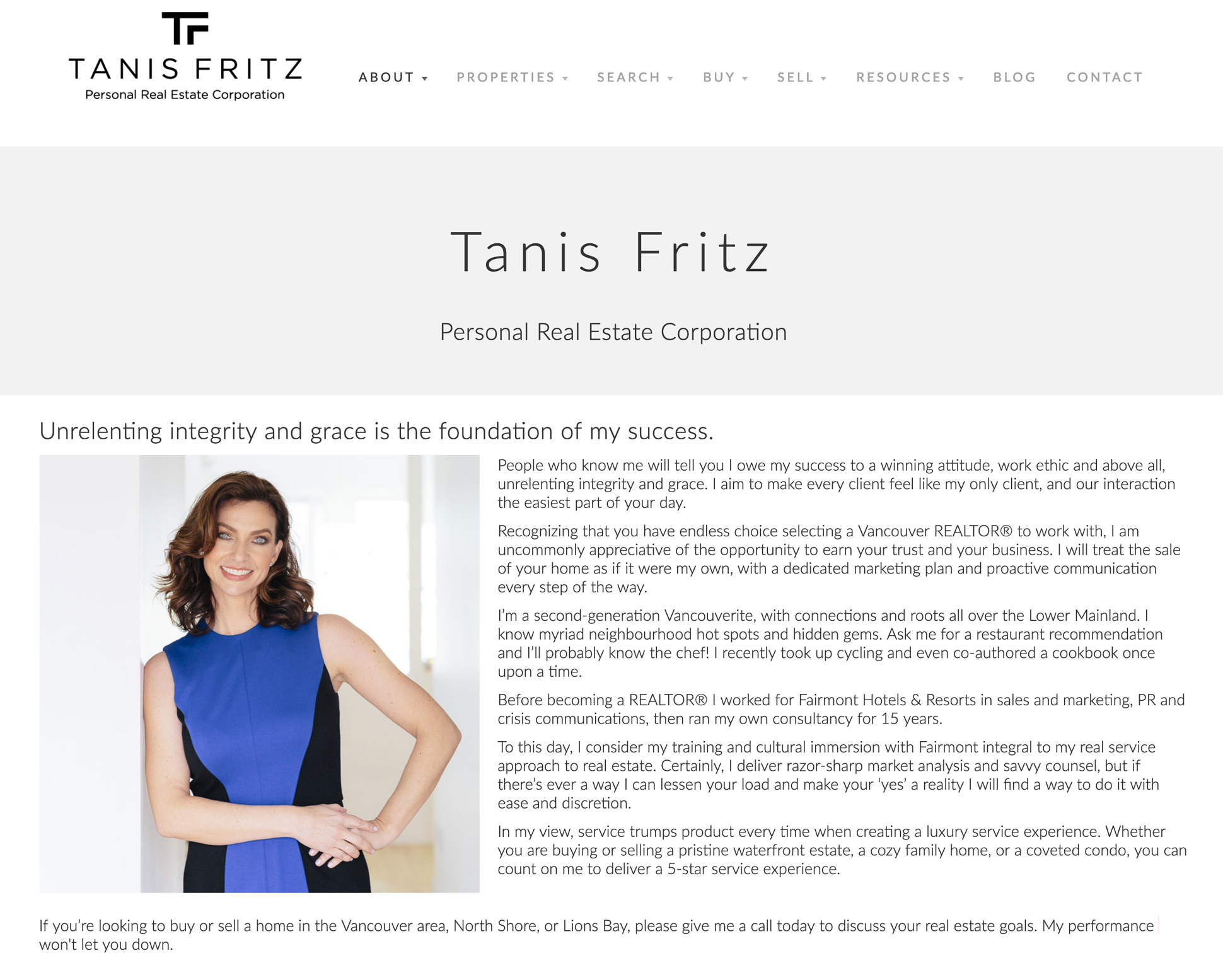 The About Me page on Tanis Fritz's real estate website
